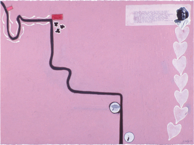 Fiona Foley Interwoven Paths, 1990; collage, pencil, oil stick, ink and hair; 57 x 76.5 cm; enquire