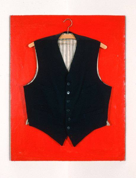 John Nixon Self Portrait (Non-Objective Composition) red monochrome with black vest, 1987; enamel and vest on cardboard; enquire