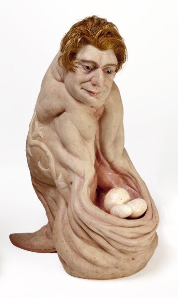 Patricia Piccinini Eagle Egg Man (The Optimist), 2018; Silicone, fibreglass, polyurethane, hair; 59.5 x 28 x 42 cm; Edition of 3 + AP 1; Enquire