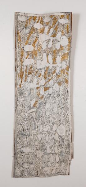 Nyapanyapa Yunupingu 14. Untitled, 2013; 4420F; natural earth pigments on bark; 146 x 50 cm; enquire