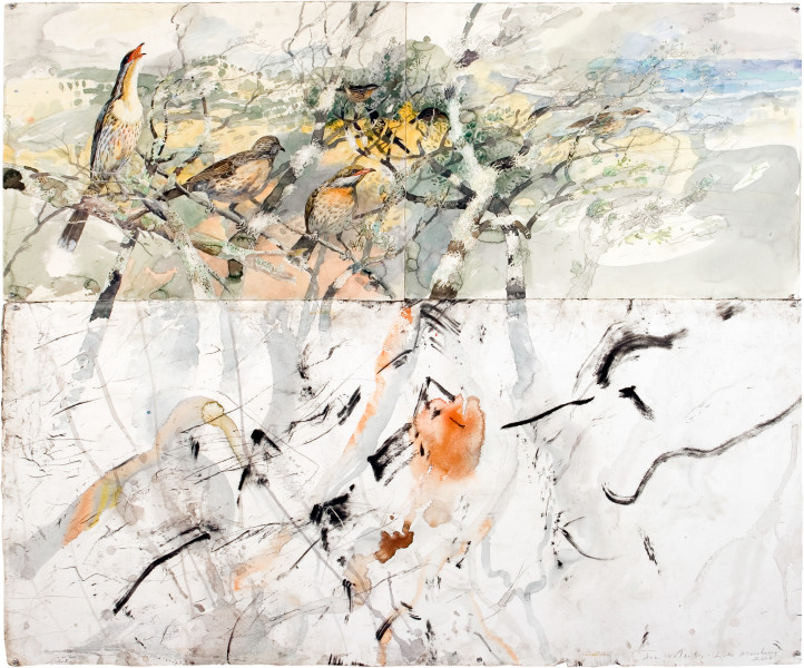 John Wolseley Song of sea, sand and salt - Monibeong, 2006; watercolour, graphite carbonised wood on paper; 151.5 x 175.5 cm; enquire