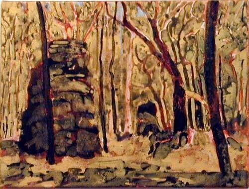 Mandy Martin Volcanic Plugs 3, after Salvator Rosa, 2002; pigment, ochre, hematite, mica, wax medium & acrylic binder on paper; 30 x 40 cm; enquire