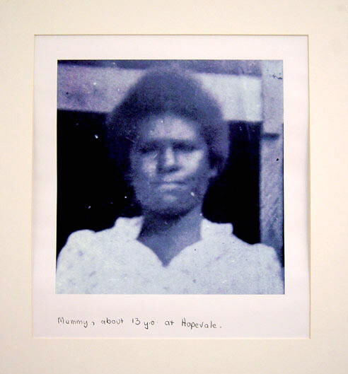 Destiny Deacon Mummy, about 13 years old at Hopevale, 1998; 2 black & white laser prints; 42.2 x 29.8 cm; Edition of 15; enquire