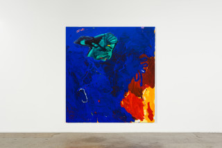 installation view; Tom Polo an end to beginnings, 2021; acrylic and Flashe on canvas; 213 x 198 cm; enquire