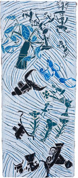 Dhambit Munuŋgurr Munggurrawuy fights the Bulldozer, 2020; 4291-20; earth pigments and acrylic on bark; 190 x 81 cm; enquire