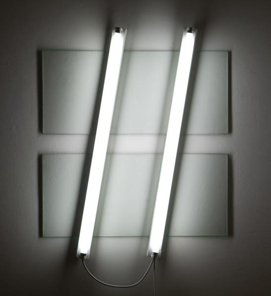 Bill Culbert Flat light glass horizontal, 2009; glass, fluorescent lights; 95 x 75 x 10 cm; enquire