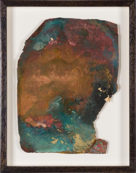 Kirtika Kain foglio I, 2019; natural oxidation, pigment, charcoal, gold leaf on copper; 28 x 22 cm; enquire