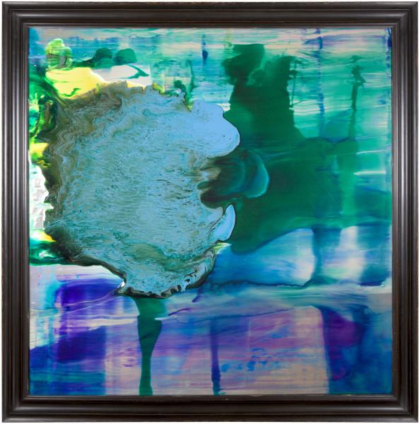 Dale Frank Yass 1, 2014; varnish on glass 4 mm ; 150 × 150cm (unframed), 170 x 170 cm (framed); enquire
