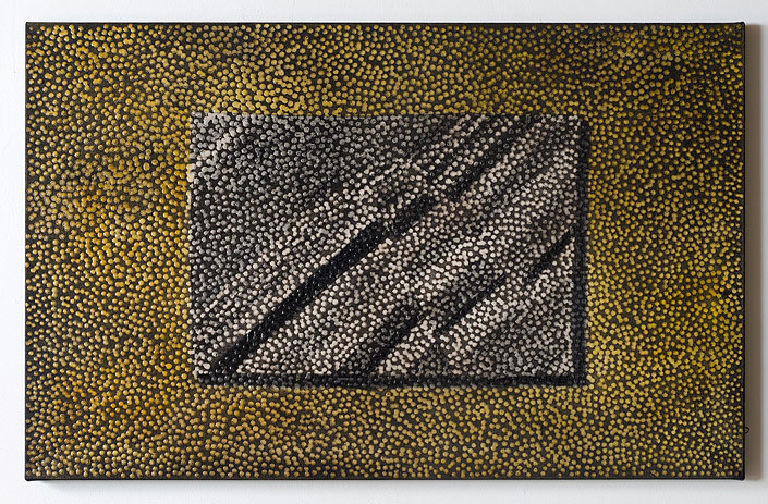 Daniel Boyd Untitled (HVSV), 2012; oil and archival glue on linen; 61 x 96.5 cm; enquire