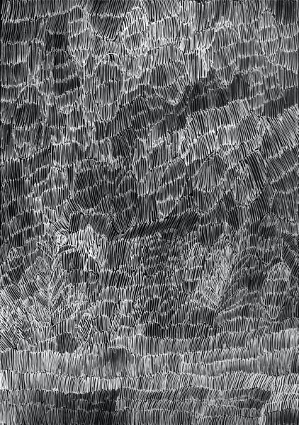 Nyapanyapa Yunupingu 44. Birrka'mirri 15, 2011; 4303H; paint pen on clear acetate plastic; 83.5 x 59.5 cm; enquire