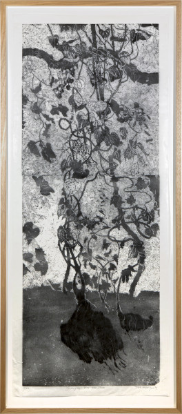 John Wolseley Ganguri, vine and yam, 2015; from the series Midawarr Suite; lino cut and wood cut; 162 x 60 cm; Edition of 40; enquire