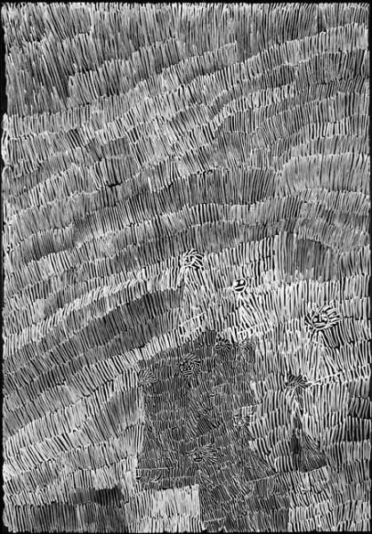 Nyapanyapa Yunupingu Untitled 28, 2012; 4304M; paint pen on clear acetate plastic; 83.5 x 59.5 cm; enquire