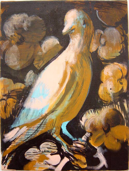 Tony Clark Bird-portrait with Flowers, 2003; acrylic on canvas; 41 x 30.5 cm; enquire