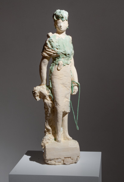 Linda Marrinon Woman with Shoulderbag on Base with Jerusalem Stone, 2011; tinted plaster, stone and cord; 74 x 25 x 17 cm; enquire