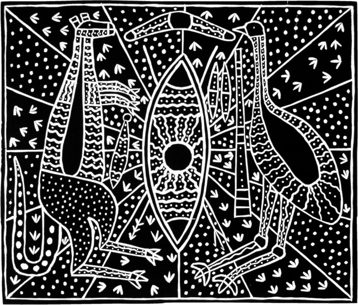 Robert Campbell Jnr Aboriginal Emblem, 1986; acrylic on canvas; enquire