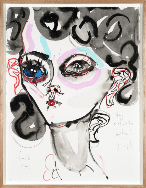 Del Kathryn Barton fuck em, 2016; archival ink and acrylic on paper; 81 x 62 cm; (framed); 76 x 56cm (paper size); enquire