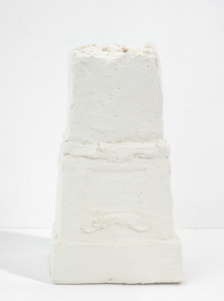 Linda Marrinon Victorian College of the Arts printmaking room, Melbourne (on Burke and Wills pedestal, Melbourne), 1998; from the series Sculpture For The Home; White terracotta; 14 x 8 x 7 cm; enquire