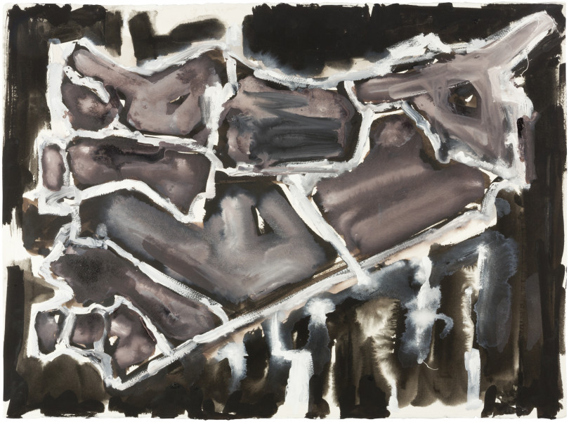 Fiona Hall Cage (Syria map 9), 2017; Cat no. 49; gouache and tapa dye on rag paper; 57 x 76 cm; enquire