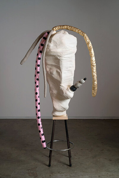 Sarah  Contos Dancing with Franz, 2014; Plaster, calico, wood, glazed earthenware, various fabrics, poly-fil, found stool base; 165 x 80 x 64 cm; enquire