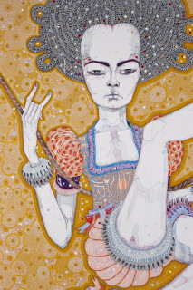 Del Kathryn Barton to look at your hands (detail), 2012; acrylic, gouache, watercolour and ink on polyester canvas; 200 x 180 cm; enquire