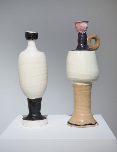 Angela Brennan Palici, 2014; earthenware; 2 pieces: 41 x 15 x 13cm, 27 x 12 x 12cm; enquire