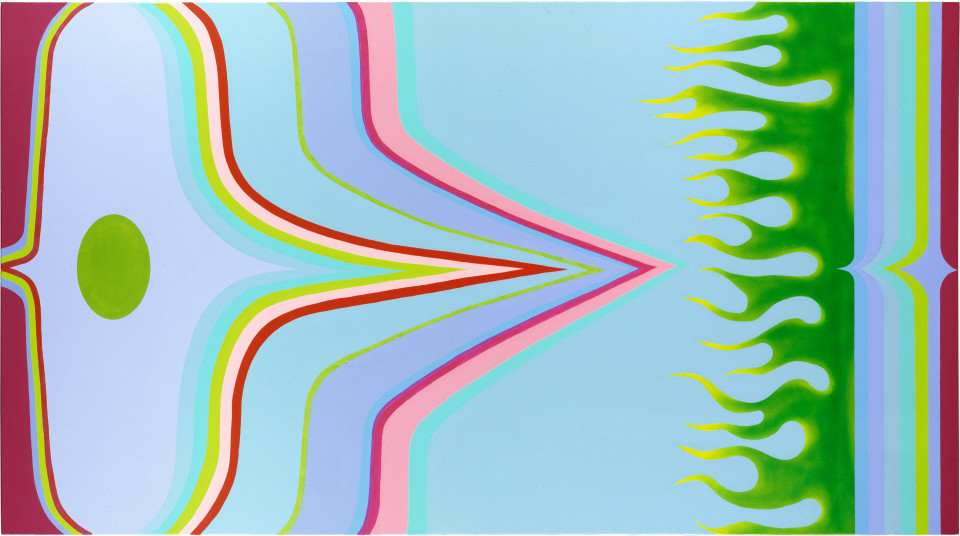 Dale Frank The Increasingly Sour Farts of an Unwanted Lover, 2000; acrylic on linen; 200 x 360 cm; enquire