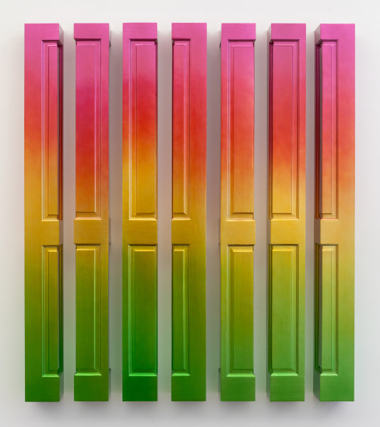 Jim Lambie Sun Rise (Meadow Lark), 2018; wood, spray paint; 7 parts, each 198 x 18.5 x 18.5 cm. Overall dimensions: 198 x 171 x 18.5 cm. 220 kg; enquire