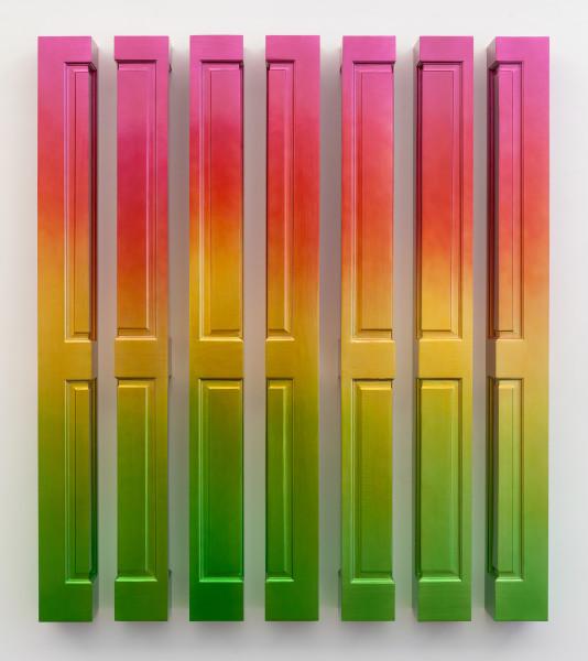 Jim Lambie Sun Rise (Meadow Lark), 2018; wood, spray paint; 7 parts, each 198 x 18.5 x 18.5 cm. Overall dimensions: 198 x 171 x 18.5 cm. 220 kg; Enquire