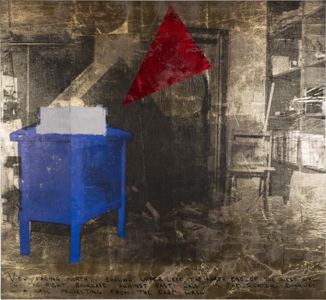 Brook Andrew Office II, 2018; ink, acrylic paint, linen; 175 x 190 x 5 cm; enquire