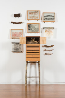 John Wolseley and Linda Fredheim Beetlearium, 2018-19; cabinet with insectarium for housing beetles and their larvae, framed prints and four drawers containing prints and the logs from which they have been made.  blackwood, eucalypt, plywood and horizontal scrub and relief prints. cabinet designed and made by Linda Fredheim Furniture Design, Hobart; 150.5 x 35 x 44 cm; enquire