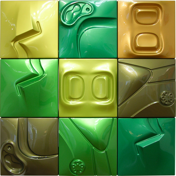 Patricia Piccinini Verdant, 2005; ABS plastic and automotive paint; 12 panels; 50 x 50 x 5 cm each; enquire