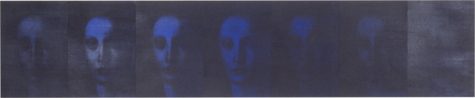 Lindy Lee Translucent + Silent, 1993; photocopy and acrylic on Stonehenge paper; 38 x 185.5 cm; 7 panels; enquire