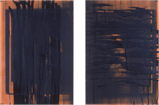 Lindy Lee From An Undeciphered World II, 1990; photocopy and acrylic on stonehenge paper; in 4 parts, each: 42 x 63.5cm; enquire