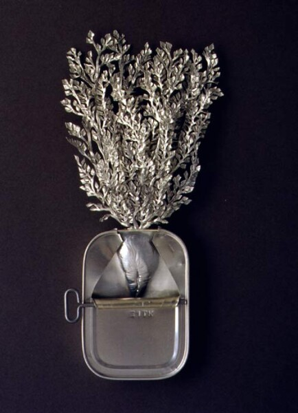 Fiona Hall Irigia, (Yankunytjatjara) / Atriplex nummularia / Old man saltbush, 1999; from the series Paradisus Terrestris; aluminium & tin; 26 x 18 x 4 cm; enquire