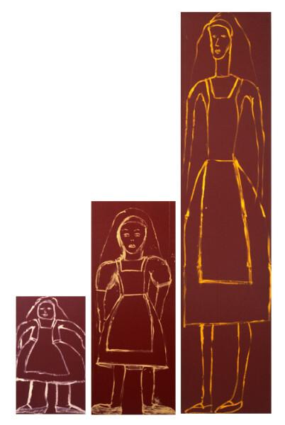 Jenny Watson Alice Small Alice Middle Alice Tall, 1986-87; Oil on ski fabric; 229 x 51cm; 121 x 48cm; 67 x 40cm; enquire