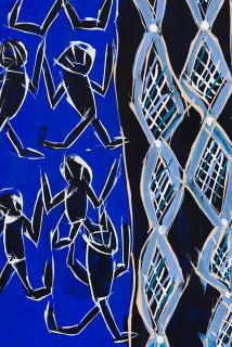 Dhambit Munuŋgurr Ganbulapula (detail), 2020; 2714-20; earth pigments and acrylic on bark; 173 x 75 cm; enquire