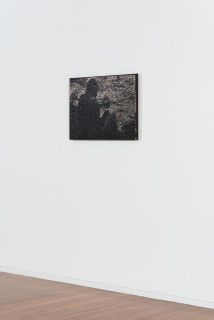 installation view; Daniel Boyd Untitled (EOTAEIAOOTA), 2020; oil, acrylic and archival glue on canvas; 58.5 x 82.5 cm; enquire