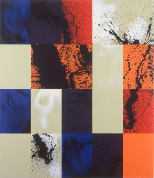 Lindy Lee A Return to Origins, 1997; acrylic on board; 164 x 142.5 cm; 20 panels; enquire