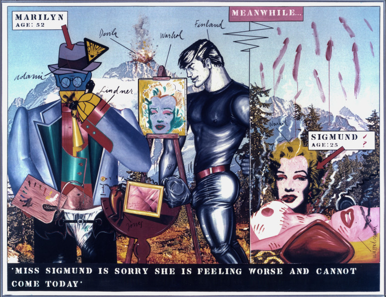 Juan Davila Miss Sigmund, 1981; acrylic and collage on photographic mural; 200 x 263 cm; enquire