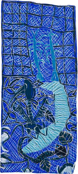 Dhambit Munuŋgurr Gulyalayala, 2020; 3566-20; earth pigments and acrylic on bark; 185 x 83 cm; enquire