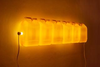 Bill Culbert Strait (Yellow), 2015; fluorescent light, plastic bottles; 29 x 120 x 12 cm; enquire