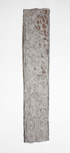 Nyapanyapa Yunupingu Gundu, 2012; 4255L; natural earth pigments on bark; 203 x 40 cm; enquire