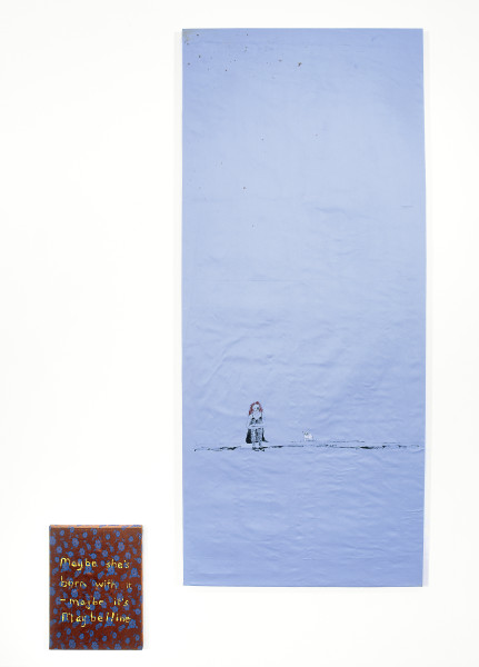 Jenny Watson Maybelline, 2004; 2 panels: acrylic on Indian cotton, acrylic on Indian silk; 2 panels: 184 x 79.5cm, 40 x 30cm; enquire