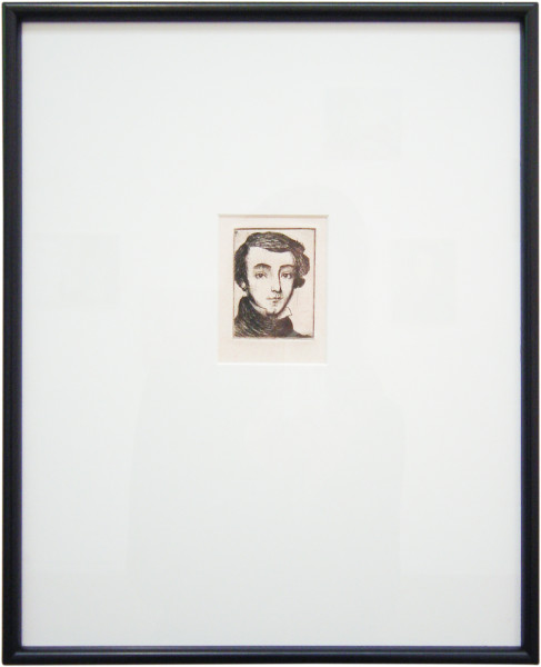 Linda Marrinon Portrait of Alexis de Tocqueville after Chasseriau, 2003; drypoint etching; 39.7 x 32.2 cm; (framed), non-editioned; enquire