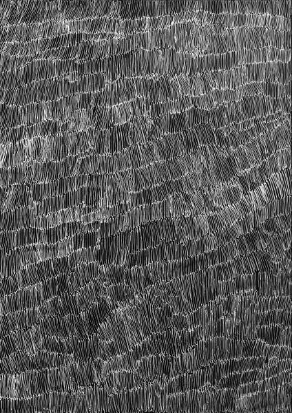 Nyapanyapa Yunupingu 42. Birrka'mirri 13, 2011; 4303K; paint pen on clear acetate plastic; 83.5 x 59.5 cm; enquire
