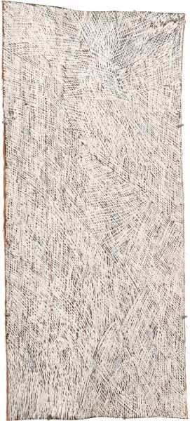 Nyapanyapa Yunupingu 21. White Painting #8, 2010; Natural earth pigments on bark 3681F; 104 x 47 cm; enquire