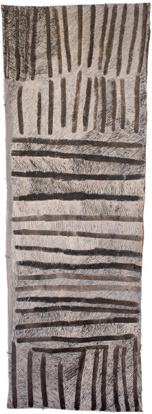Nyapanyapa Yunupingu Lines, 2017; 4715-17; natural earth pigments on bark; 167 x 60 cm; enquire