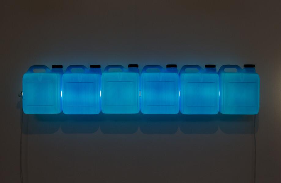 Bill Culbert Strait (Blue), 2015; fluorescent light, plastic bottles; 25 x 120 x 12 cm; enquire