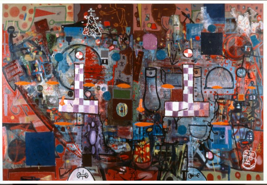 Gareth Sansom Mr Art Meets Mr God, 1987; oil on canvas; 228.5 x 335 cm; enquire