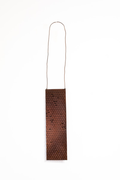 Lorraine Connelly-Northey Narrbong, 2019; CONNL - 0025; rusted iron, tin backing, wire; 170 x 26 x 6 cm; enquire
